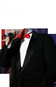 Мужские шаблоны и костюмы для фотошопа - 214. Концертный смокинг, галстук-бабочка, микрофон – и перед нами эстрадный певец!