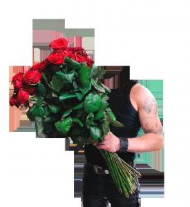 Мужские шаблоны и костюмы для фотошопа - 260. Какая девушка устоит перед горой мышц и огромным букетом роз?