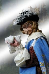 Мужские шаблоны и костюмы для фотошопа - 28. Отважный и любвеобильный Арамис держит дамский надушенный платок.