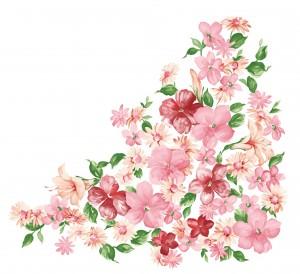 Пышные розовые цветы могут послужить фоном для оформления.