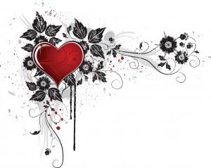 Красное сердечко, украшенное затейливым узором.