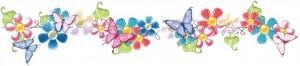 Клипарт-украшение из необыкновенных цветов и бабочек.