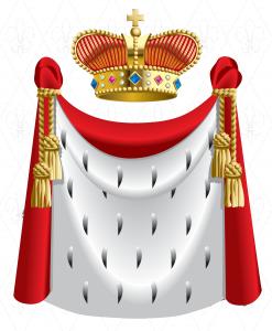 Королевское облачение и шикарная корона, украшенная драгоценными камнями.