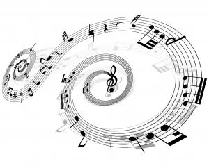 Затейливый узор из записи нотных знаков.