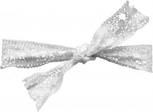 Бант из легкого плетеного кружева для оформления упаковки виртуального подарка.
