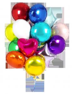 Разноцветные надувные шарики создают праздничное настроение.