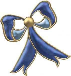 Гламурный синий бант с золотым кантиком.