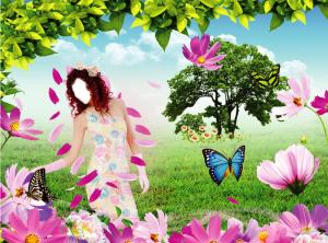 Женские шаблоны и костюмы для фотошопа - 03. Дама в легком цветочном сарафане гуляет по зеленому полю
