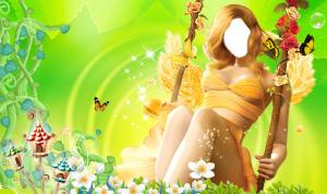 Женские шаблоны и костюмы для фотошопа - 09. Волшебница-весна на цветочных качелях