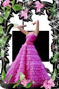 Женские шаблоны и костюмы для фотошопа - 111. Пышный розовый туалет облегает тонкий стан