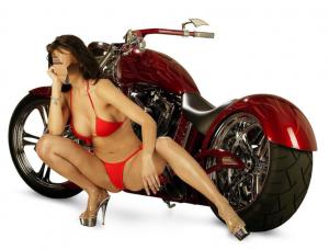 Женские шаблоны и костюмы для фотошопа - 122. Дама на высоких каблуках в красном купальнике на фоне большого мотоцикла