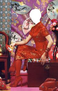 Женские шаблоны и костюмы для фотошопа - 140. Чарующая представительница Востока в китайской комнате
