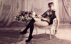 Женские шаблоны и костюмы для фотошопа - 199. барышня в романтической обстановке присела на шикарное кресло