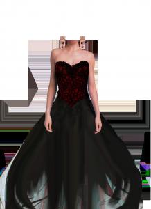 Женские шаблоны и костюмы для фотошопа - 234. Изящная девичья фигура в роскошном вечернем платье черного цвета