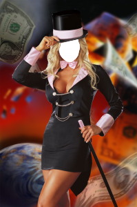 Женские шаблоны и костюмы для фотошопа - 278. Искусная фокусница легко превращает деньги в пепел