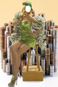 Женские шаблоны и костюмы для фотошопа - 279. Хозяйка монетного двора на фоне денег