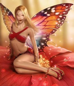 Женские шаблоны и костюмы для фотошопа - 329. Обворожительная красавица в образе бабочки