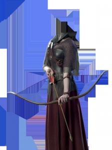 Женские шаблоны и костюмы для фотошопа - 62. Женщина воин с луком в руках, ее остроконечная стрела готова покорить любую цель