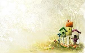 Фон для фотошопа - 90. Три скворечника на лужайке.