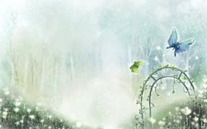 Фон для фотошопа - 92. Летние бабочки в тумане.