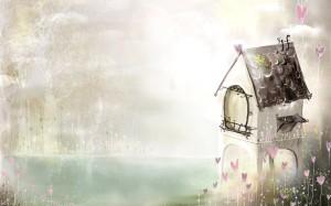 Фон для фотошопа - 93. Сказочный маленький домик на берегу озера в густом тумане.
