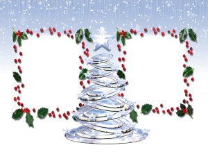 Новогодняя фоторамка. Серебряная красавица, искусно вырезанная талантливым мастером из цельного льда, украсит праздник.