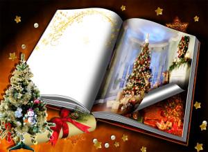 Новогодняя фоторамка. пожелания к новому году будут классно смотреться в этой открытой книге