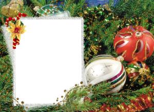 Новогодняя фоторамка. Буйство ёлочной зелени дополняет роспись нарядных праздничных украшений, выполненная всеми цветами радуги.