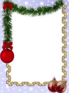 Новогодняя фоторамка. Ёлочная мишура и красные шарики с блёстками прекрасное оформление праздника.