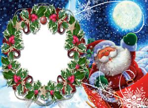 Новогодняя фоторамка. Веселый Дед Мороз спешит раздавать подарки!